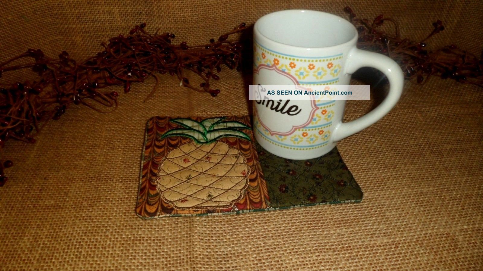 Embroidered Coffee Mug Rug Coaster Pineapple Quilted Country Home Decor Primitives photo