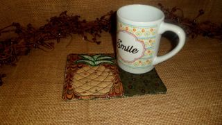 Embroidered Coffee Mug Rug Coaster Pineapple Quilted Country Home Decor photo