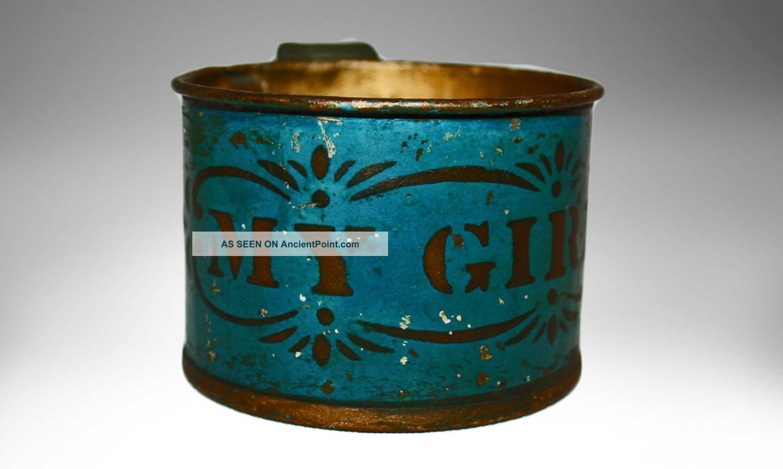 Authentic Antique Tin Cup For Child Painted My Girl 19th Century Primitives photo