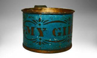 Authentic Antique Tin Cup For Child Painted My Girl 19th Century photo