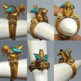 Roman 23k Solid Gold Ring Turquoise Coral Stone Bird Ring 6.  82 Grams photo