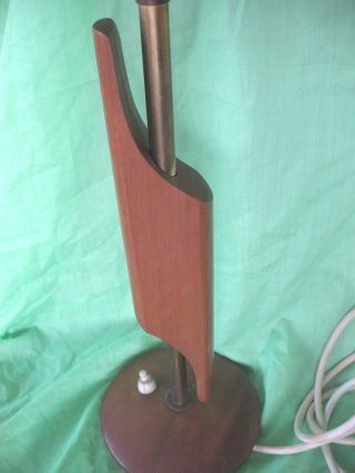 Old Vintage Retro Eames Era Stylish Abstract Danish Teak And Brass Table Lamp photo