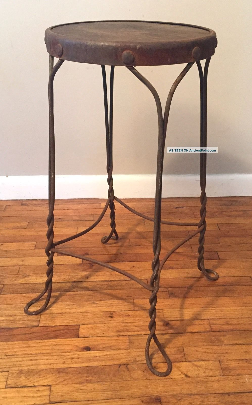 Vintage Twisted Wire Ice Cream Shop Cafe Stool Steampunk Metal Wood Wrought Iron 1900-1950 photo