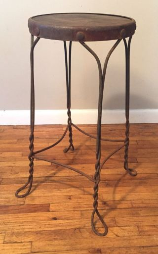Vintage Twisted Wire Ice Cream Shop Cafe Stool Steampunk Metal Wood Wrought Iron photo
