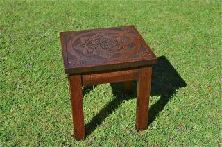 A Lovely Antique Marriage Stool Hand Carved Oak 1946 Folk Art Handmade photo