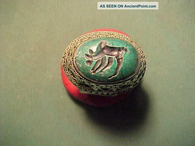 Near Eastern Hand Crafted Intaglio Ring Green Stone (bull) 1700 - 1900 Near Eastern photo