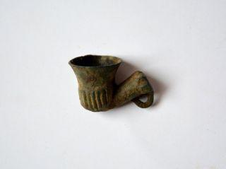 Antique Turkish Miniature Bronze Pipe photo