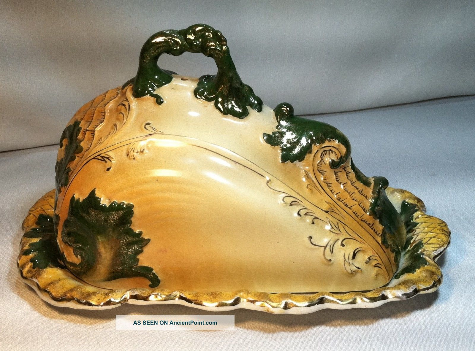 Antique Large Victorian Porcelain Covered Cheese Butter Tray Dish Shell Embossed Platters & Trays photo