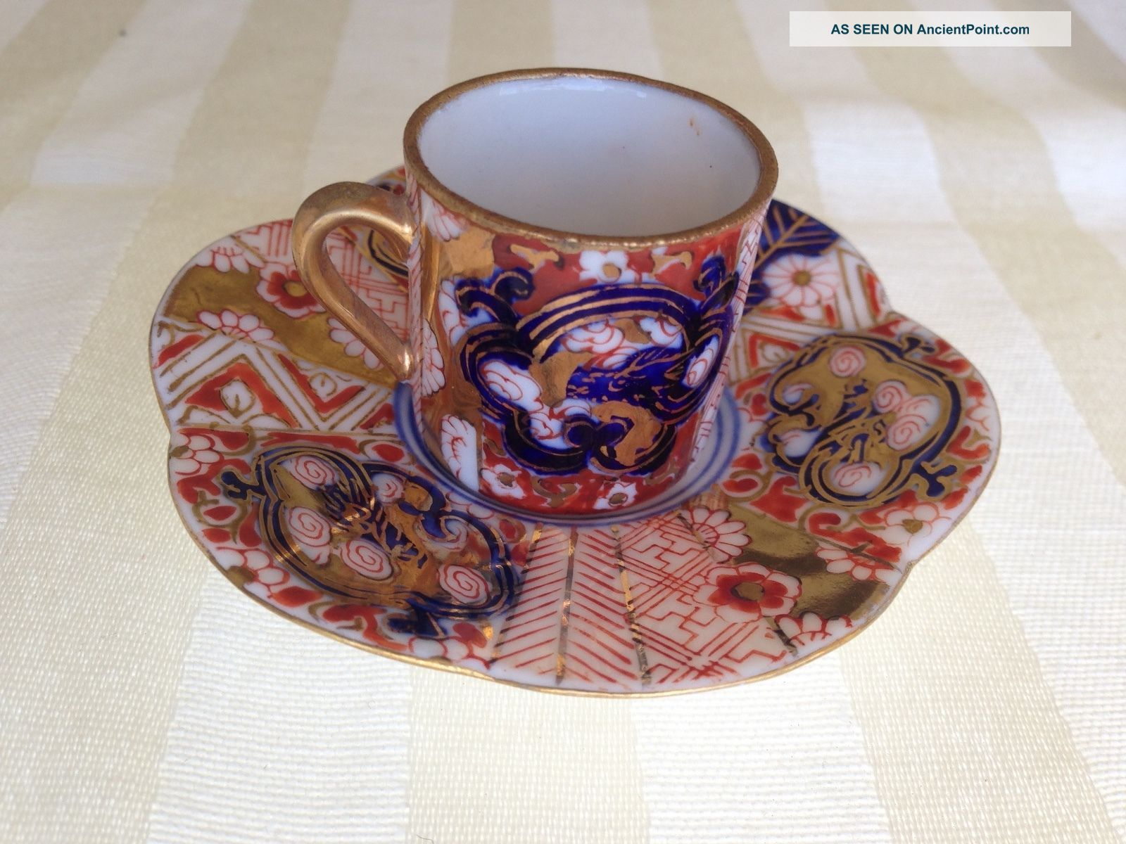 Vtg Antique Crown Derby Old Imari Occupied Japan Miniature Cup Saucer Doll Cups & Saucers photo