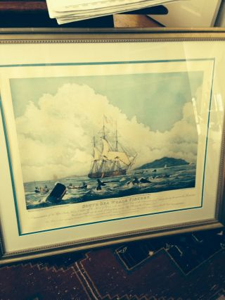 Antique Whaling Print South Sea Whale Fishery Painted By W J Huggins photo