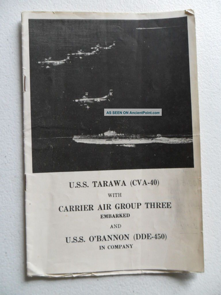 Navy Uss Tarawa (cva - 40) Tg Welcome Aboard 1954 Coral Sea Week Sydney Signed Other Maritime Antiques photo