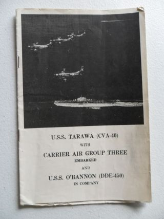 Navy Uss Tarawa (cva - 40) Tg Welcome Aboard 1954 Coral Sea Week Sydney Signed photo