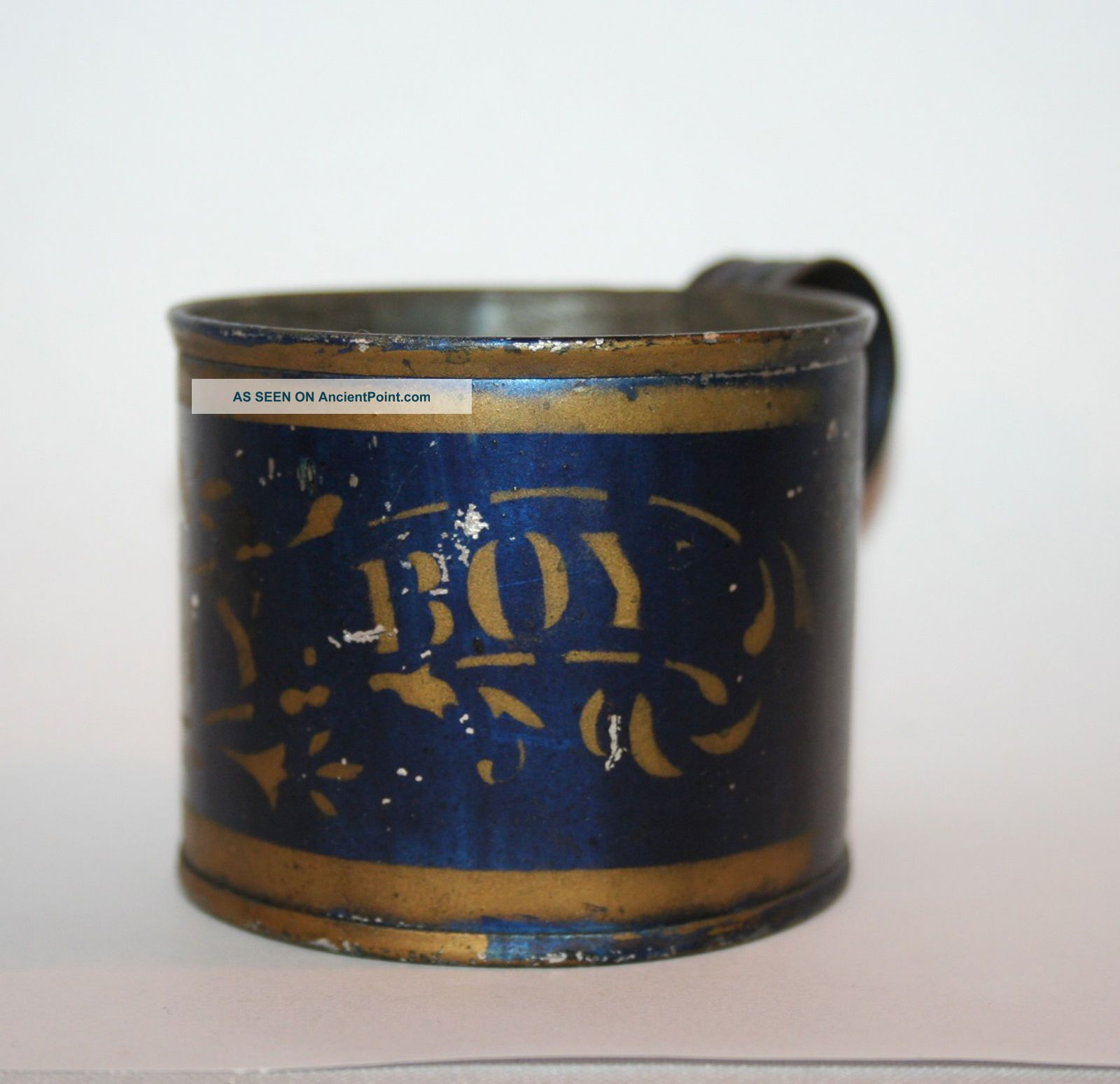 Authentic Antique Child ' S Tin Cup Painted My Boy 19th Century Primitives photo