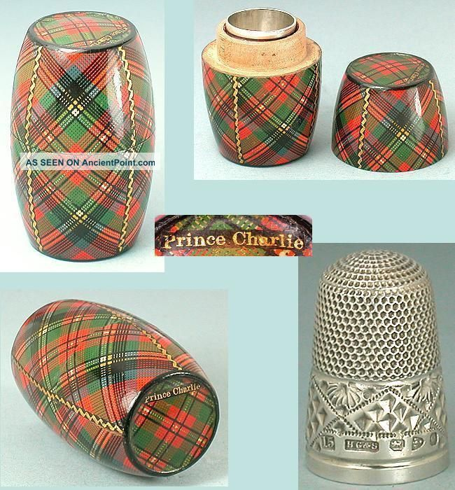Antique Prince Charlie Tartan Ware Thimble Barrel 1897 Sterling Thimble Thimbles photo