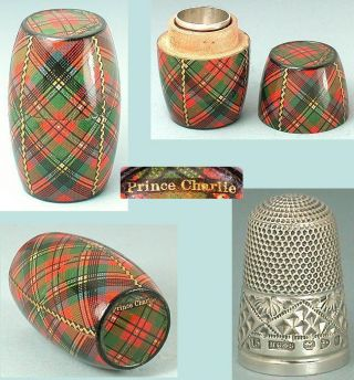 Antique Prince Charlie Tartan Ware Thimble Barrel 1897 Sterling Thimble photo