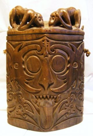 Antique Indonesian Dayak Borneo Box Chamber Statue Sculpture Borneo photo