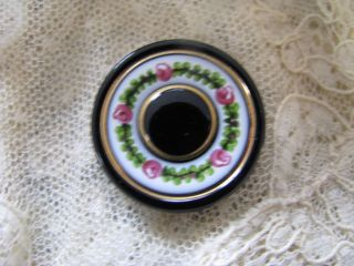 2 Antique Buttons Garland With Roses Enamel On Black Glass Dimensional Pair Exc photo