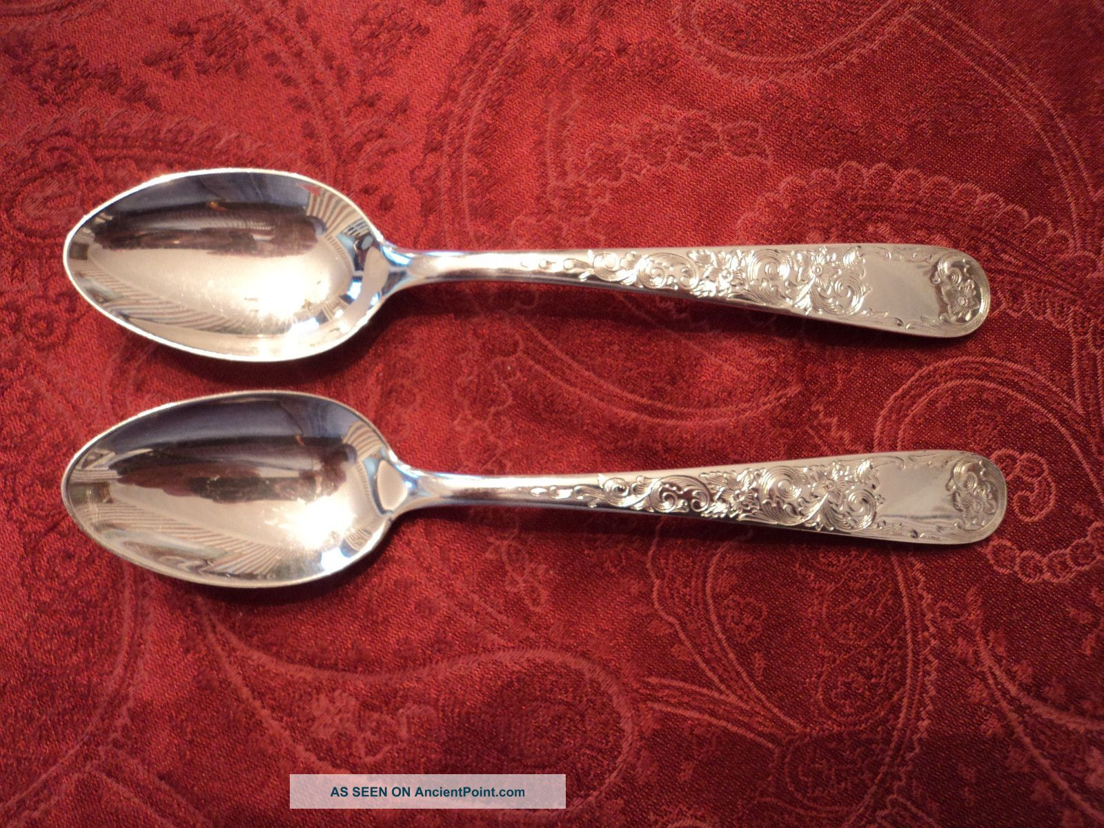 2 - S.  Kirk & Son Old Maryland Engraved Sterling Teaspoons 6