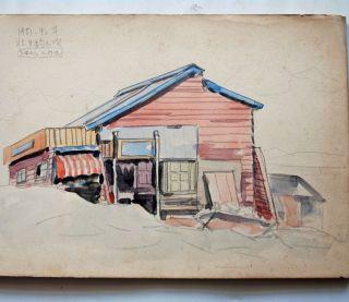 1949 - 52 Post Wwii Japanese Sketchbook Watercolor Paintings / Drawings photo