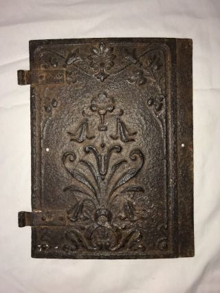 Antique Vtg Cast Iron Wood Stove Door Ornate Rustic Decor Steampunk Wall Hanging photo