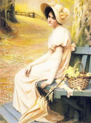 Large Old Vintage Henniker Art Print Gathering Primroses C19th Victorian Lady photo