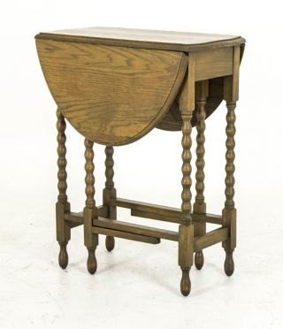 B620 Antique Scottish Petite Oak Drop Leaf,  Gateleg Table,  Bobbin Legs photo