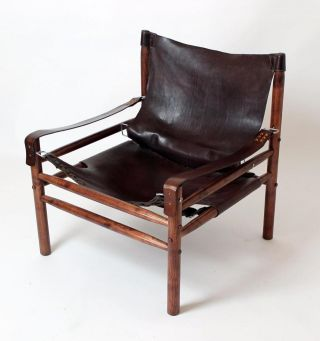 Vintage 1970 ' Hungarian Leather Safari Armchair In Manner Of Arne Norell photo