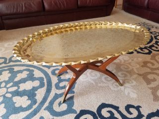 14791 Vintage Middle Eastern Brass Coffee Table / Tray Moroccan photo