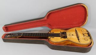 Antique Circa 1800 Finely Inlaid Snakes 12 - String,  Baroque Guitar & Case photo