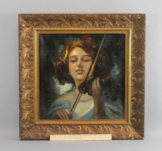 Antique Authentic Vincenzo Irolli O/c Portrait Oil Painting Young Woman & Violin photo