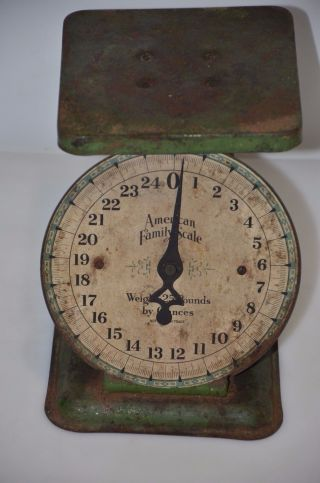 25lb.  American Family Adjustable Scales Antique Model - 1920s Vintage Green photo