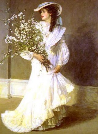 Large Old Vintage Lavery Art Print Spring Elegant Victorian Lady In Hat Flowers photo