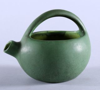 Matte Green Hampshire Art Pottery Squat Form Handled Jug C.  1910 Arts & Crafts Nr photo