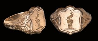 English Post Medieval Gold Signet Ring With Bird Holding Stalk 18th Century photo