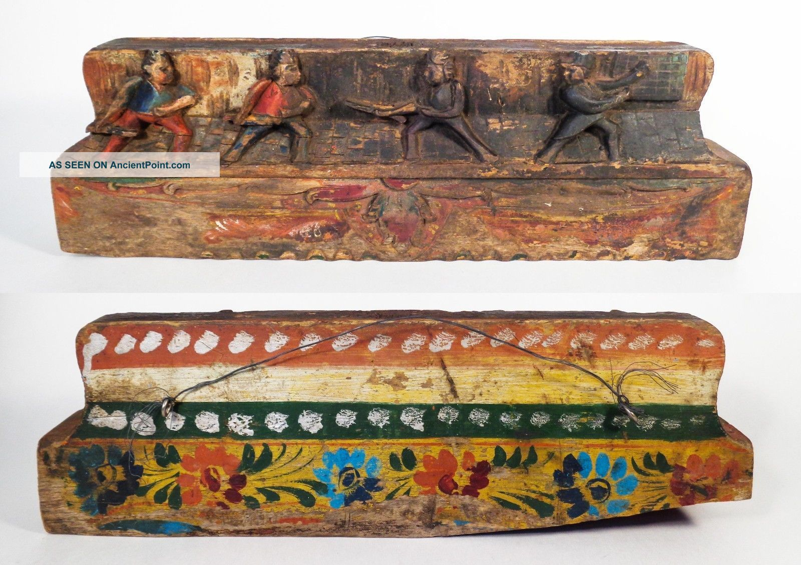 Sicilian Vintage 19th C Hand - Carved/painted Wooden Donkey Cart Rail Piece Italy South Italian photo