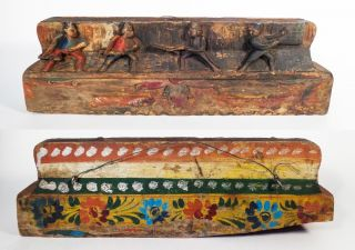 Sicilian Vintage 19th C Hand - Carved/painted Wooden Donkey Cart Rail Piece Italy photo