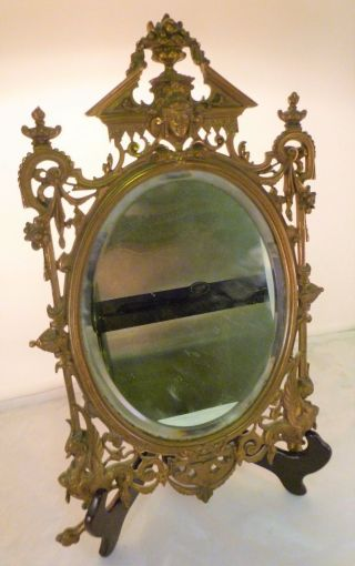 Small Antique Late 19th Century Bronze Elaborately Framed Mirror W/ Griffins photo