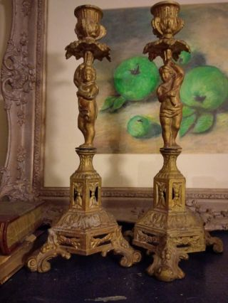 Rococo Candle Holders C1900s photo