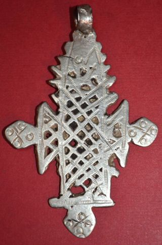 Antique Ethiopian Coptic Christian Cross Silver Pendant From Ethiopia,  Africa photo