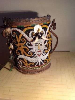 Vintage Borneo Dayak Tribal Basket Woven Baby Carrier W.  Beaded Accents (eic) photo