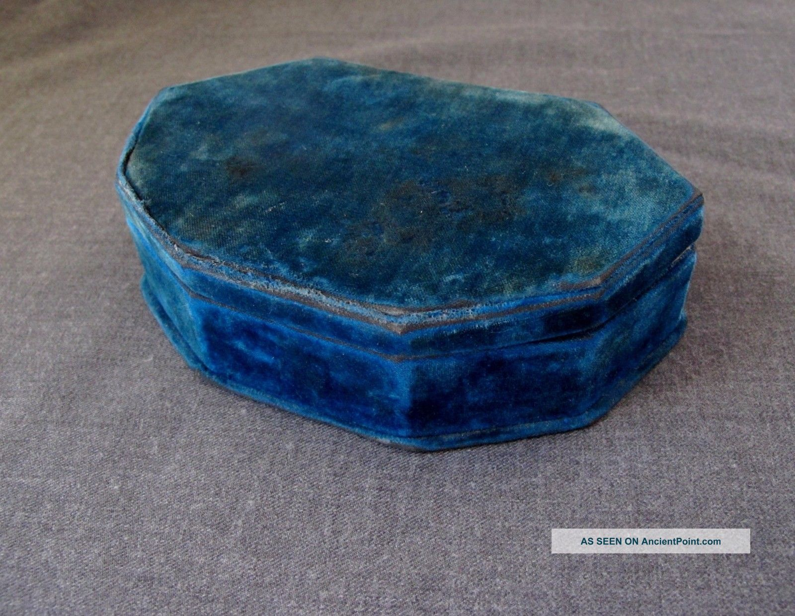 Antique Lined In Turquoise Velvet Sewing Box Case Baskets & Boxes photo