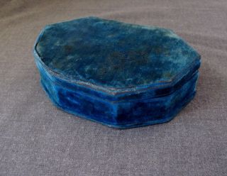 Antique Lined In Turquoise Velvet Sewing Box Case photo