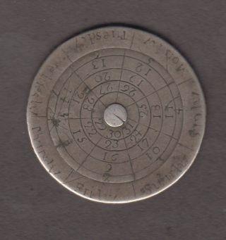 1700s Silver Pocket Sun Dial Or Calendar ? Engraved On 30mm Coin Reverse photo