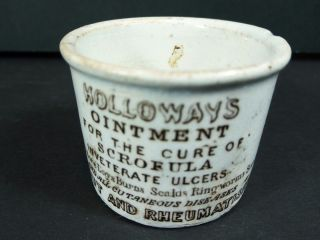 Antique Holloway ' S Ointment Stoneware Cup Jar Quack Medicine Circa.  1850s ?? photo