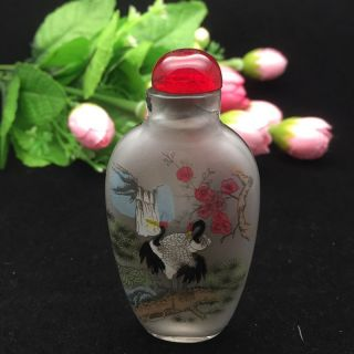 Chinese Painting Glass Crane And Plum Snuff Bottle photo