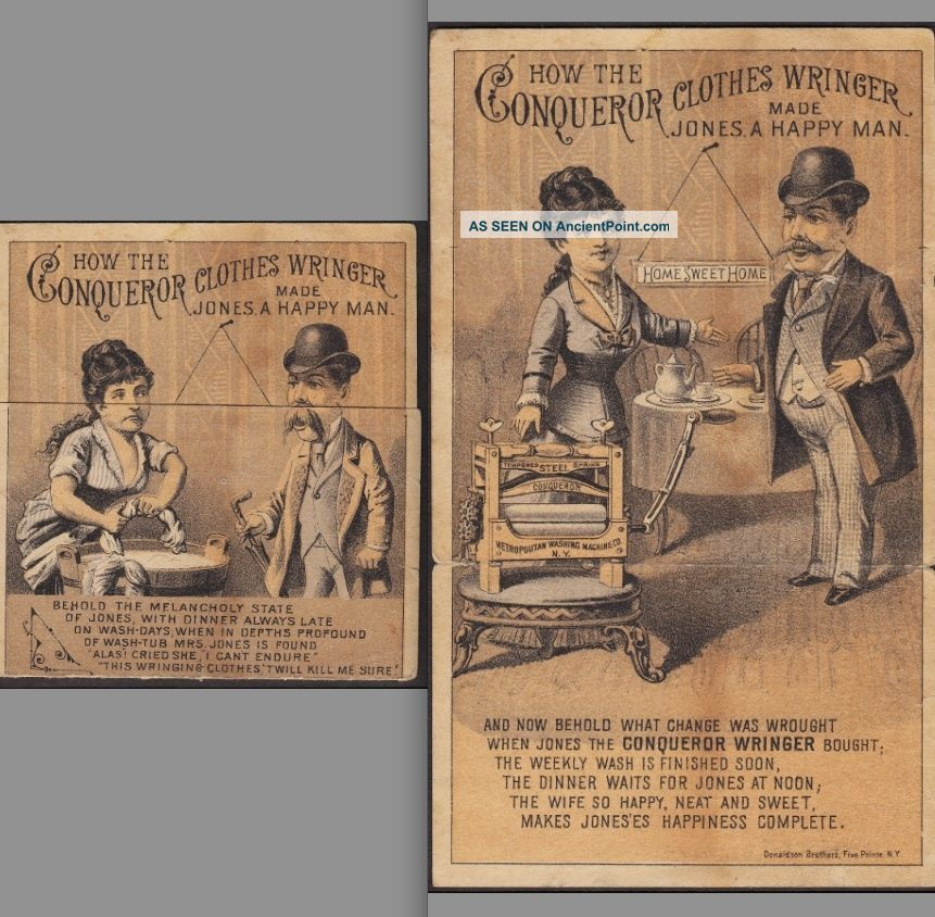 Poughkeepsie Ny 1880 ' S Conqueror Clothes Wringer Metamophic Ny Advertising Card Clothing Wringers photo