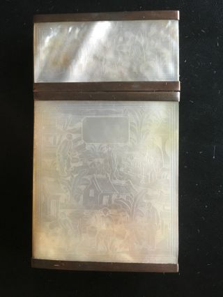 19th Century China Chinese Carved Mother Of Pearl Card Case Box 珍珠母古董盒 photo