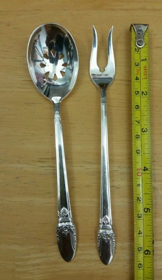 1847 Rogers Bros Vintage1937 First Love Pickel Fork & Rare Cranberry Spoon. photo