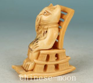 Lovely Chinese Old No Plastic Handmade Carved Cat Chair Statue Ornament photo