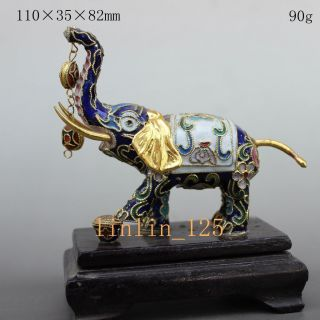 China Rare Decorated Delicate Hand Cloisonne Carve Lucky Elephant Statue Nr09 photo